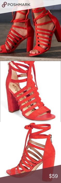 Sam Edelman Yarina Sandals in Red Only worn once! Some wear on bottom and a few scoffs on the heel as pictured. Other than that, excellent condition. See last pic for product details! Sam Edelman Shoes Sandals