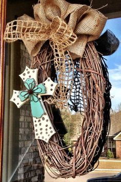 Custom Burlap Cross Grapevine Wreath by Frontdoorshowcase on Etsy, $35.00 @Kaitlyn Marie Marie Marie jenkins