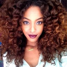 """kenisse-iology: """" fall ombre curls and burgundy lipstick """""""