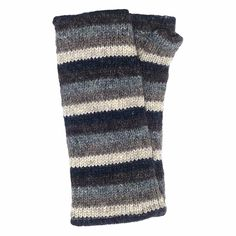 Striped Knitted Wrist Warmers