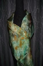 Hand Painted Silk Scarf ~ GREEN/GOLD TLT229 $35