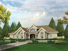 The Pomona Park Southwestern Home has 3 bedrooms, 2 full baths and 1 half bath. See amenities for Plan 007D-0166.