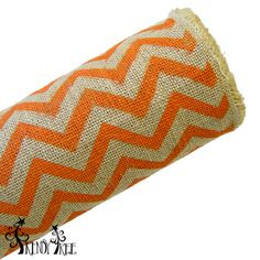 "Chevron Burlap Roll Color: Natural, Orange Size: 20"" in width; 10 yards in length (Jute or burlap rolls do have a burlap smell, nothing offensive, it's just burlap)"