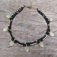 Perlen schwarz Fußkette Ankel-Armband schwarz Fußkette von Artjuna
