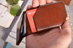 Wingback Chestnut custom leather wallet