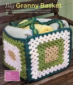Discover thousands of images about Luty Artes Crochet: Cesta quadrada de crochê Maisno directions- make granny squares- insert cardboard to stiffen.sac Really big granny square basket.crochet - do it in summer colors and you have a good beach bag! Beau Crochet, Crochet Home, Love Crochet, Beautiful Crochet, Crochet Crafts, Crochet Baby, Crochet Projects, Knit Crochet, Crochet Stitches