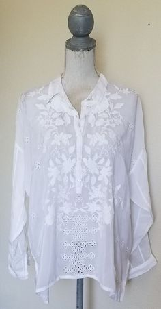 JOHNNY WAS #EMBROIDERED #WHITE LONG SLEEVE 1/4 BUTTON W/COLLAR #BLOUSE SIZE S #JohnnyWas #silverhair #fashion #style #shorts #pants #buynow #ebay #sale #airportfashion #bohemian #boho