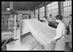 Frederick and Dimmock spinning glass wool at a factory in Millville, New Jersey on March 26, 1937. (Lewis Hine/WPA/History By Zim)