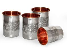 Drinking Copper Glass Tumbler Handmade Water Glass, Set of-4 #Handmade