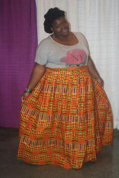 BIG GIRLS ROCK Kente cloth xxx Skirt by AnkaraStyles2014 on Etsy, $95.00