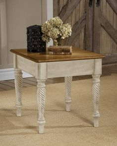 The Hillsdale Furniture - - Wilshire End Table features a blend of cottage styling with country accented details. The Hillsdale Furniture - - Wilshire End Table is characterized by the blend of Americana and English Country gives t Entryway Furniture, White Furniture, Living Room Furniture, Painted Furniture, Beach Furniture, Cottage Furniture, Antique Furniture, Furniture Design, White End Tables