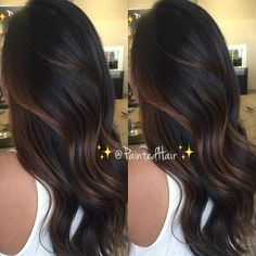 🚨Please read below🚨👇🏼✨🌰Transitioning into Fall with this Dark Chocolate and Chestnut toned ✨Painted Hair✨ Her hair was completely black… Brown Hair Balayage, Brown Hair With Highlights, Ombre Hair, Black Hair With Lowlights, Black Balayage, Chunky Highlights, Bayalage, Blonde Highlights, Hair Color For Black Hair