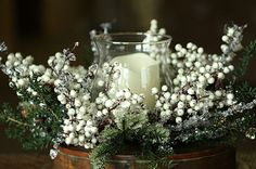 Hurricane Candle Holder Iced Pine with White Berries - 20 Inch