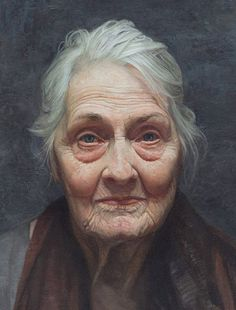 """Jaece Lutece"" - David Jon Kassan, oil on arches oil paper, aluminum panel, 2013 {figurative realism art female head #hyperreal elderly woman face portrait cropped painting detail #loveart #2good2btrue} davidkassan.com"