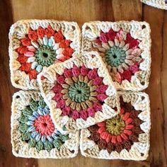 Crochet Granny Square Patterns Sunburst Granny Squares Pattern by Priscilla Hewitt - Crochet Motifs, Granny Square Crochet Pattern, Crochet Squares, Crochet Granny, Crochet Blanket Patterns, Granny Squares, Granny Granny, Knitting Patterns, Flower Granny Square