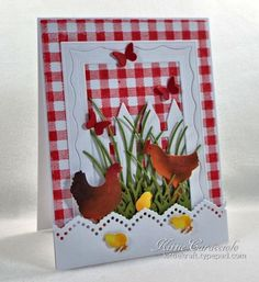 Framed Gingham and Chickens by kittie747 - Cards and Paper Crafts at Splitcoaststampers