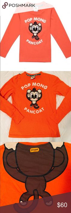 "🙈Pancoat orange pop monkey long sleeve tee🙉 🙈Pancoat orange pop mong monkey long sleeve tee.🙉Super cute and one of a kind!😎 Orange cotton t shirt with cute monkey printed back and front. Embroidered lettering details. No major flaws, excellent condition. Front monkey lines has some imperfections. 100% cotton. Size XS. Total length: 23"", bust: 16.5"", sleeve: 24"". Feel free to ask any questions if you have. Thanks🙃❤️ pancoat Tops Tees - Long Sleeve"