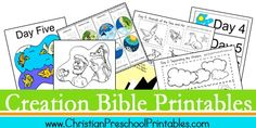 Free Creation Bible Printables~ Would be great for a biblical Earth Day celebration. Creation Bible Crafts, Bible Story Crafts, Bible Stories, Preschool Bible, Bible Activities, Preschool Printables, Preschool Activities, Bible Lessons For Kids, Bible For Kids