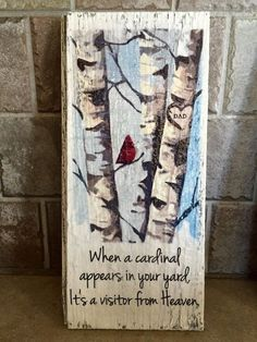 When a cardinal appears in your yard, it's a visitor from Heaven. Wood sign Custom initials, name, or date in heart. Painted Signs, Wooden Signs, Christmas Paintings On Canvas, Pallet Art, Diy Signs, Painting On Wood, Wood Paintings, Tole Painting, Wood Art
