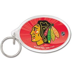 """CHICAGO BLACKHAWKS OFFICAIL LOGO KEYCHAIN by NHL. $14.94. Show your team pride everywhere you go with this terrific team logo keychain. Constructe of durable acrylic plastic. Built to last. Measures 2.5"""" wide by 2"""" tall. Official team logo and colors. Licensed by the league and the team."""