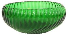 Emerald Green Ribbed Glass Bowl | Hot Mod | One Kings Lane