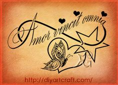 Amor vincit omnia #tattoo Love conquers all, minus the hearts and stars...i think its a winner!!