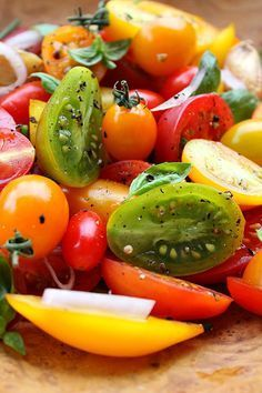 Heirloom Tomato Salad with Roasted Lemon and Garlic | Omit the honey, or sub a drop or 2 of stevia.