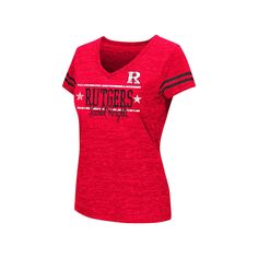 Juniors' Campus Heritage Rutgers Scarlet Knights Double Stag V-Neck Tee, Women's, Size: XL, Red Other