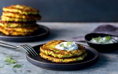 Gluten-Free Zucchini Pancakes with Yogurt Dressing | Recipe