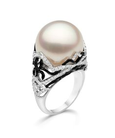 IvankaTrump-R0361-Deco Scroll Ring with 16mm White South Sea Pearl
