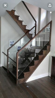 Modern Staircase Design Ideas - Browse images of modern stairs as well as uncover design and format ideas to influence your very own modern staircase remodel, consisting of one-of-a-kind barriers as well as storage . Modern Stair Railing, Stair Railing Design, Stair Handrail, Staircase Railings, Modern Stairs, Glass Stair Railing, Bannister, Metal Stairs, Glass Balustrade