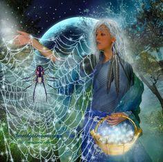 Spider Woman my 2014 Goddess of the year. Tattoo Deus, Wicca, Magick, Witchcraft, Spider Art, Spider Webs, Goddess Art, Moon Goddess, We Are The World