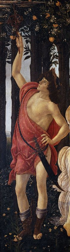 """Mercury in """"The Primavera"""" - detail, painting by Sandro Botticelli"""