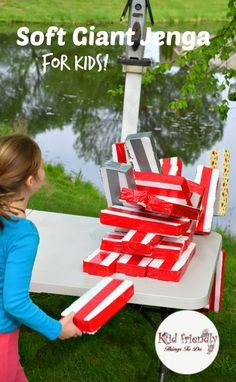 Best Backyard Kids Party Decorations Giant Jenga 16 Ideas - All For Garden Giant Outdoor Games, Giant Yard Games, Yard Games For Kids, Kids Party Games, Diy Games, Backyard For Kids, Backyard Games, Backyard Camping, Game Party