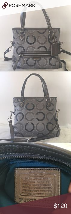 "Coach Daisy Outline Signature Mia Tote Handbag This Silver/Gray Tote Bag is a Beautiful Piece!! Signature metallic fabric with fabric trim. Inside zip pocket, cell phone, and multifunction pockets. Zip-top closure, fabric lining. Outside zip pocket. Handles with 9"" drop. Longer strap for crossbody wear. Includes 2 Coach Leather hangtags and detachable shoulder strap. Like new condition. Only a couple of stains one outside and another one the inside liner (last pics) Coach Bags Totes"