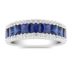 Nine princess cut sapphires, at approximately carat TW, add color while 42 round diamonds, at approximately TW, add sparkle to this exquisite piece. The ring is crafted from the finest 14 karat white gold. The total gem weight is approximately carats. Sapphire Wedding, Diamond Wedding Bands, Diamond Rings, Diamond Engagement Rings, Diamond Cuts, Solitaire Rings, Halo Engagement, Sapphire Jewelry, Sapphire Diamond