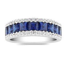 Princess Cut Blue Sapphire & Diamonds Ring