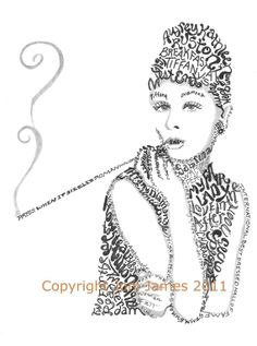 Audrey Hepburn Breakfast at Tiffany's word art typography calligram illustration by Joni James