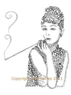 Audrey Hepburn Breakfast at Tiffany's word art typography calligram illustration by Joni James