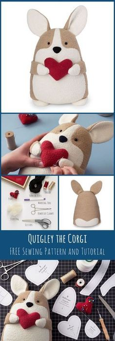 Free Corgi Sewing Pattern and Tutorial—DIY Corgi, Free PDF Sewing Pattern, DIY Valentine's Day, VDAY Gift Ideas, Corgi Plush, Stuffed corgi, free dog sewing pattern