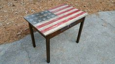 Rustic Desk w/ Distressed Americana Painted Finish
