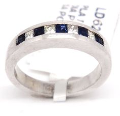 Vintage Platinum 950 Princess Cut Diamonds & Sapphires 0.50tcw Fashion Ring 6