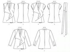 Vogue 8979 Tunique et ceinture, tailles 36 à 42 et 42 à 50