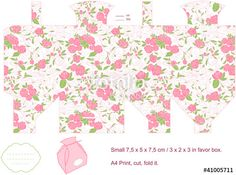 Vector: Gift box template. Floral pattern.