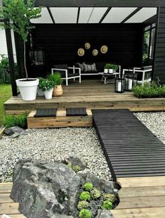 70 magical side yard and backyard gravel garden design ideas – Patio Garden ideas - How to Make Gardening Gravel Garden, Garden Landscaping, Landscaping Ideas, Terrace Garden, Gravel Patio, Luxury Landscaping, Garden Seating, Garden Ideas Using Gravel, Cosy Garden Ideas