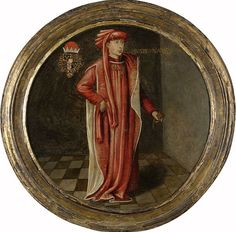 с.1460.Philip the Good,Duke of Burgundy.Standing,facing left, at full-length on a tiled floor.He is wearing the robe of the Order of the Golden Fleece. Around his neck he is wearing the collar of that order.Coat of arms top left. With integrated frame. Diameter:31 cm. Rijksmuseum Amsterdam.Anonymous.