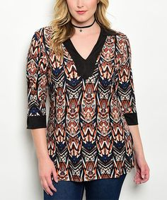 Look what I found on #zulily! Black & Rust Geometric V-Neck Top - Plus #zulilyfinds