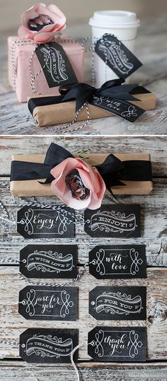 Free printable chalkboard Gift Tags (for any occasion) from Ellinée.