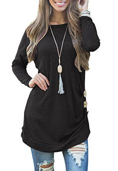 1490fa7f4cd Muhadrs Womens Long Sleeve Casual Round Neck Loose Tunic Top Blouse T Shirt   tops