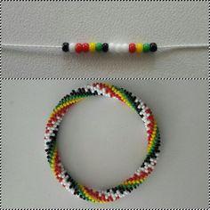 6 around bead crochet rope pattern Bead Crochet Patterns, Bead Crochet Rope, Beaded Jewelry Patterns, Bracelet Patterns, Beading Patterns, Diy Crochet, Seed Bead Tutorials, Beading Tutorials, Crochet Beaded Bracelets